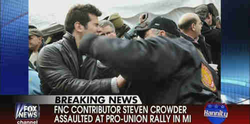 Steven Crowder (L) slugged in the face by union supporter on Tuesday (Fox News)