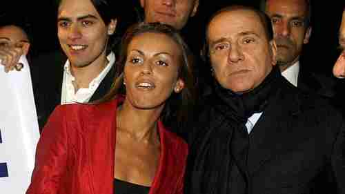 Silvio Berlusconi with his young fianc�e Francesca Pascale in this photo from December.  Pascale has been invisible during the electoral campaign.