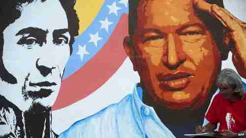 Wall mural painting of Chavez in Caracas (BBC)