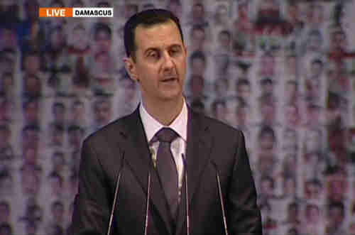 Bashar al-Assad on TV on Sunday