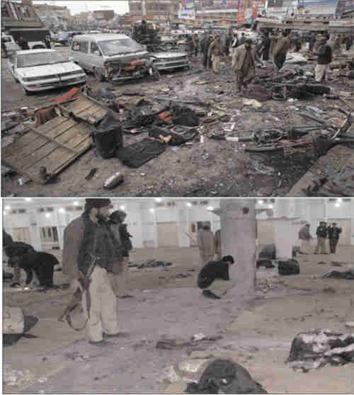 Two suicide bombing sites on Thursday