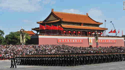 China's Army marching in Tiananmen Square (CNN)