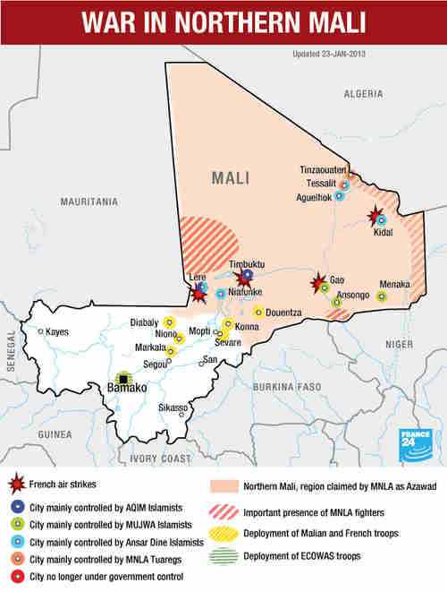 Mali - battle map for Wednesday (France 24)
