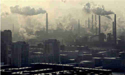 Benxi, China, where the major industries are coal mining and steel production
