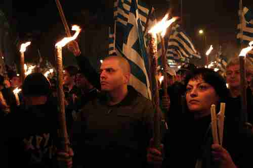 Golden Dawn supporters on Saturday (Reuters/Spiegel)