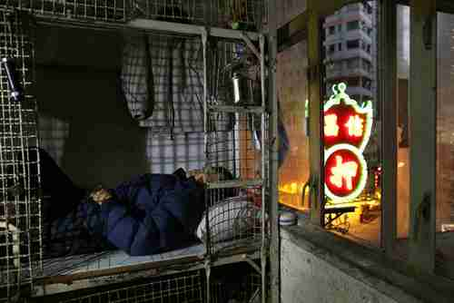 62-year-old Cheng Man Wai lies in his home, 16 sq. ft. cage (AP)