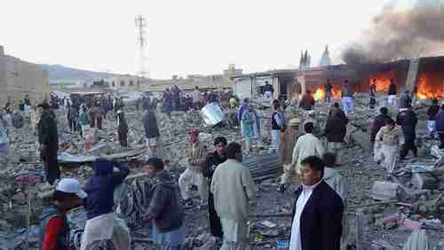 Site of the vegetable market turned into a war zone in Quetta on Saturday (AFP)