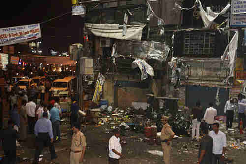 Bomb site in Hyderabad (AP)