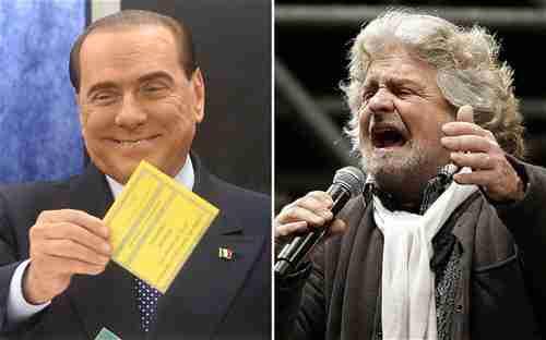Silvio Berlusconi and Beppe Grillo