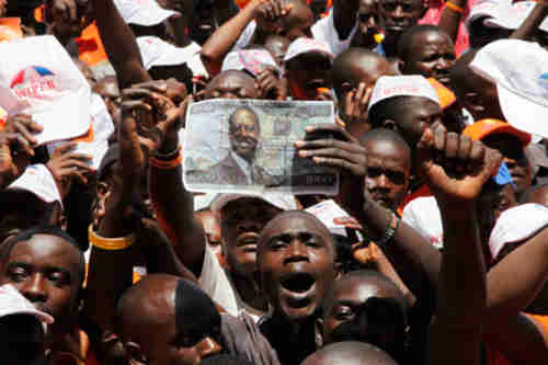 Odinga supporters rally on Saturday (AP)