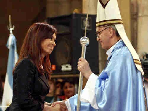 Kirchner and Bergoglio shake hands in this 2008 photo.  (AP)