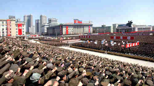 Large war rally in Pyongyang, N. Korea, on Friday (KCNA)