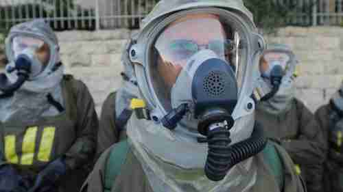 Israeli soldiers testing chemical protection gear