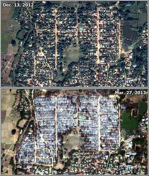 Before and after satellite pictures, Meiktila, Burma (Human Rights Watch)