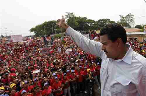 Nicolas Maduro on Tuesday, kicking off campaign for presidency (AP)
