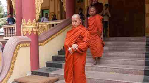 Buddhist Monk Ashin Wirathu (front) supports anti-Muslim violence