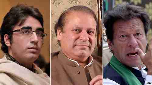 Pakistan presidential candidates (L-R) Bilawal Bhutto Zardari, Nawaz Sharif and Imran Khan (BBC)