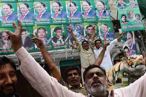 Nawaz Sharif supporters rejoice in election victory (AP)