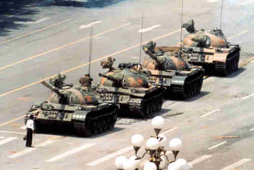Iconic photo of 'tank man' - student blocking row of tanks in Tiananmen Square in June, 1989