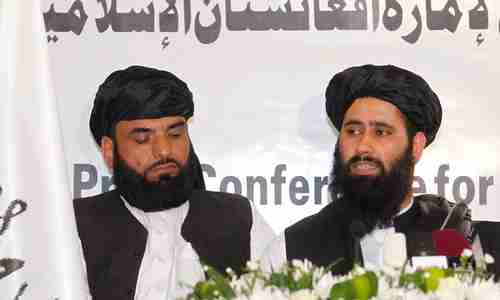 Taliban press conference in Doha on Tuesday (Reuters)