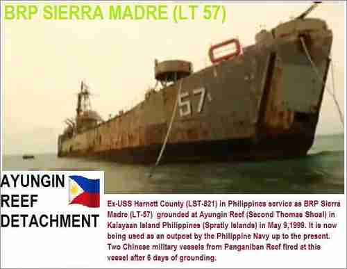 BRP Sierra Madre grounded in Ayungin Shoal (Chiangrai Times)