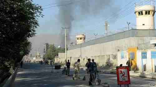 Smoke rises from entrance to presidential palace in Kabul on Tuesday (BBC)