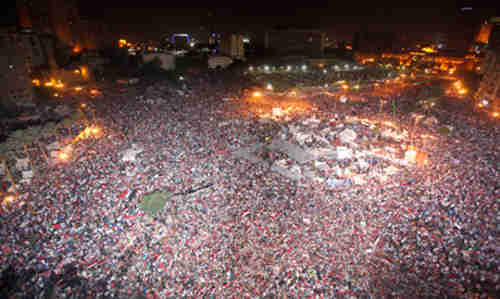 Oceans of anti-government protesters fill Tahrir Square in Cairo (BBC)
