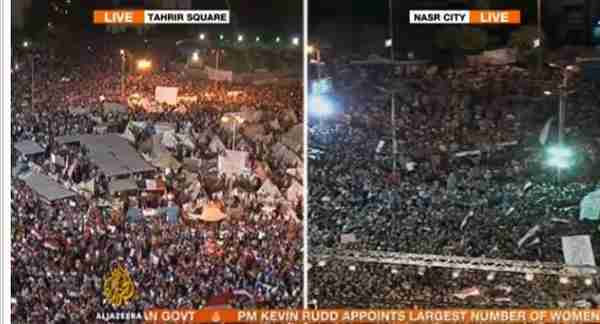 Opposing protests: Morsi opponents in Cairo's Tahrir Square, and supporters in Cairo's Nasr City (Al-Jazeera)