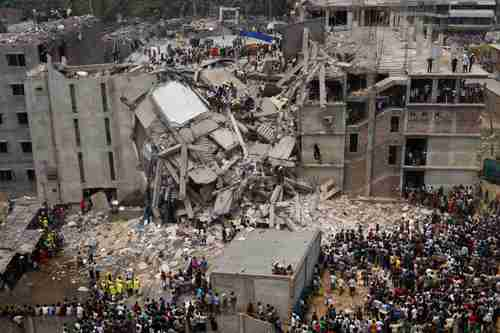 The collapse of this factory building in Dhaka, Bangladesh, on April 24, containing 3,120 workers, of whom 315 were killed and over 1500 injured, is a good symbol of the catastrophic collapse of certain economic policies