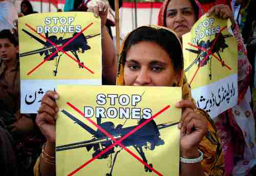 Women protest against U.S. drone strikes in Peshawar, Pakistan, in April, 2011 (AP)