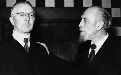 Hjalmar Schacht (left), Hitler's finance minister, with his close friend Montagu Norman, Governor of the Bank of England (Getty)