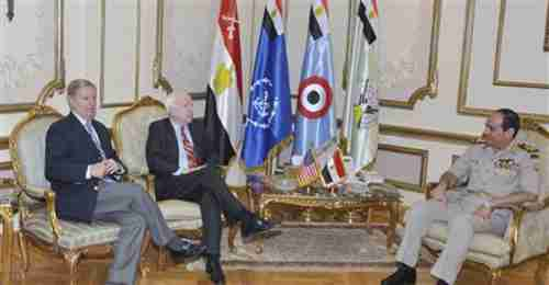 Senators McCain and Graham meet with Egypt's Armed Forces General Abdel Fattah al-Sisi on Tuesday (Reuters)