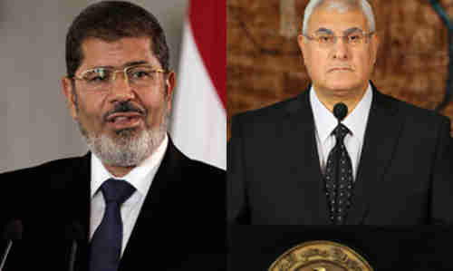 Ousted president Mohamed Morsi and interim president Adly Mansour