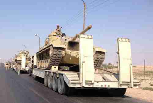 Egyptian military tanks deployed in Sinai last month (AFP)
