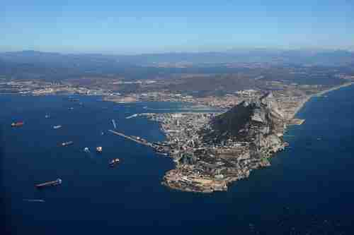 The Gibraltar enclave, a British territory, 2.62 square miles at the tip of Spain (Spiegel)