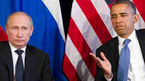 Vladimir Putin and a scowling Barack Obama at their June, 2012 meeting (AP)