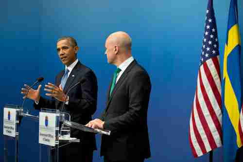 Obama with Sweden's Prime Minister Fredrik Reinfeldt in Stockholm on Wednesday