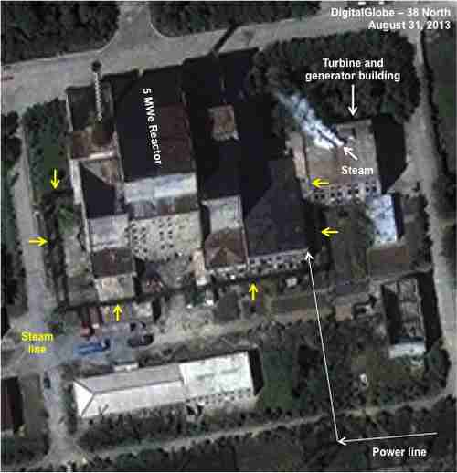 August 31 satellite photo shows white smoke coming from electrical power generating building in nuclear complex (38North)