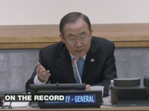 Ban Ki-moon thinking he's speaking privately on Friday (Al-Jazeera)