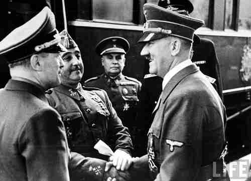 Nazi leader Adolf Hitler meets Fascist leader Francisco Franco in 1940 (Life Magazine)