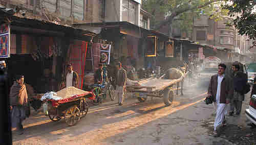 The historic Qissa Khwani bazaar marketplace in Peshawar, Pakistan, on a 'normal' day