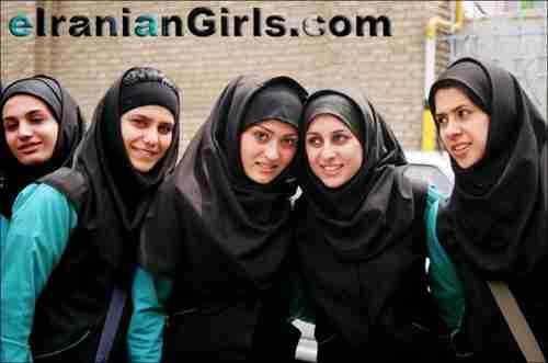 Iranian college girls wearing the hijab