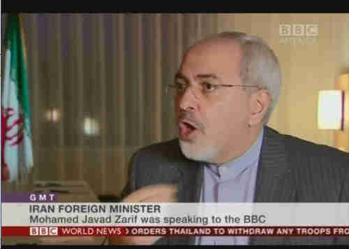 Mohamed Javad Zarif being interviewed on BBC on Monday