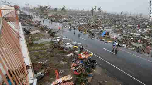 The city of Tacloban in the Philippines, with a population of over 220,000, almost totally destroyed by Typhoon Haiyan