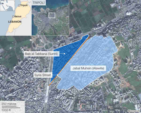 Map of Tripoli, Lebanon, showing the two districts (Shia/Alawite versus Sunni), separated by Syria Street, that have been fighting (BBC)