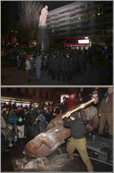 Top: Dec 1 picture of police guarding Lenin statue; bottom, Dec 8 picture of statue's destruction (AP)