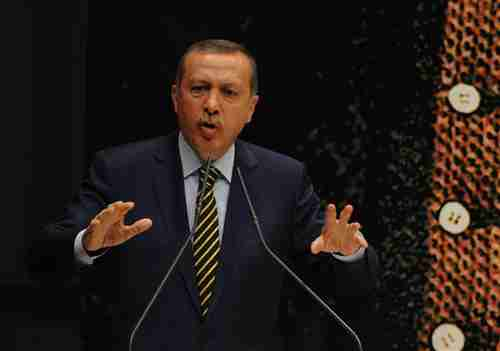 Erdogan at press conference on Wednesday (Hurriyet)