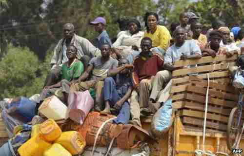 These are Chadians fleeing the Central African Republic, heading back to Chad.  In South Sudan, over 100,000 have fled to U.N. compounds. (BBC)