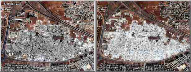Before (left) and after pictures show that the al-Assad regime destroyed entire civilian neighborhoods, killing many women and children in just a few days (CNN/HRW)