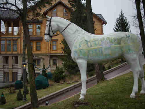An ornamental horse stands outside Yanukovych's residence in his secret Kiev compound